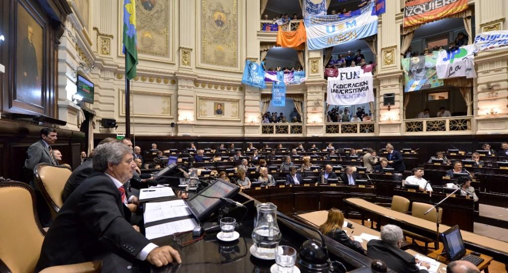 Representantes del movimiento estudiantil festejaron la ley votada en Diputados.