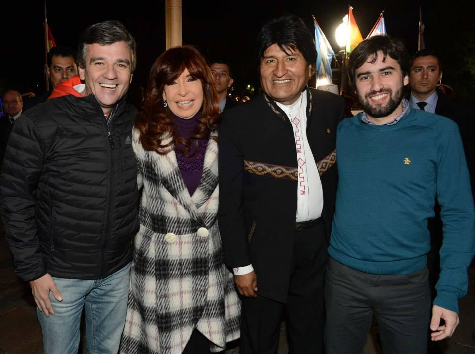 Zabaleta con Cristina y Evo Morales